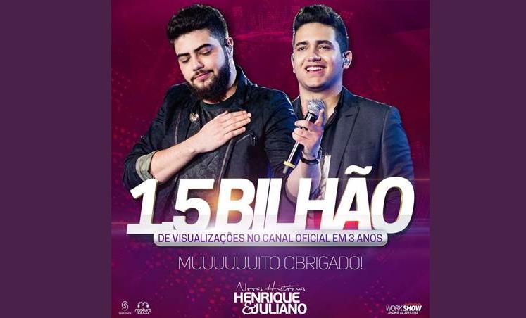 Henrique e Juliano são os primeiros artistas brasileiros a alcançarem  1,5 bilhão de views no YouTube 41