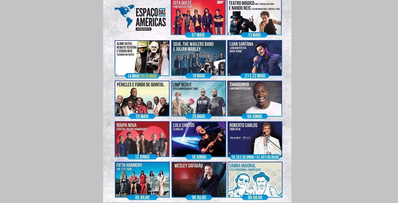 Espaço das Américas anuncia calendário de shows já confirmados até o momento para Maio, Junho e Julho 41