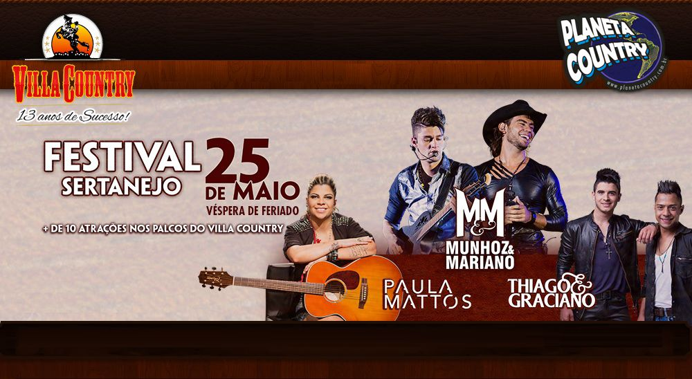 Villa Country trará Munhoz & Mariano, Paula Mattos e Thiago & Graciano para 9ª edição do Festival Sertanejo 36