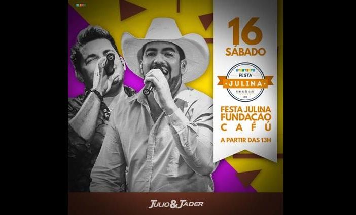 """Julio e Jader marcam presença na """"Festa Julina"""" com o Capitão do penta Cafu 41"""