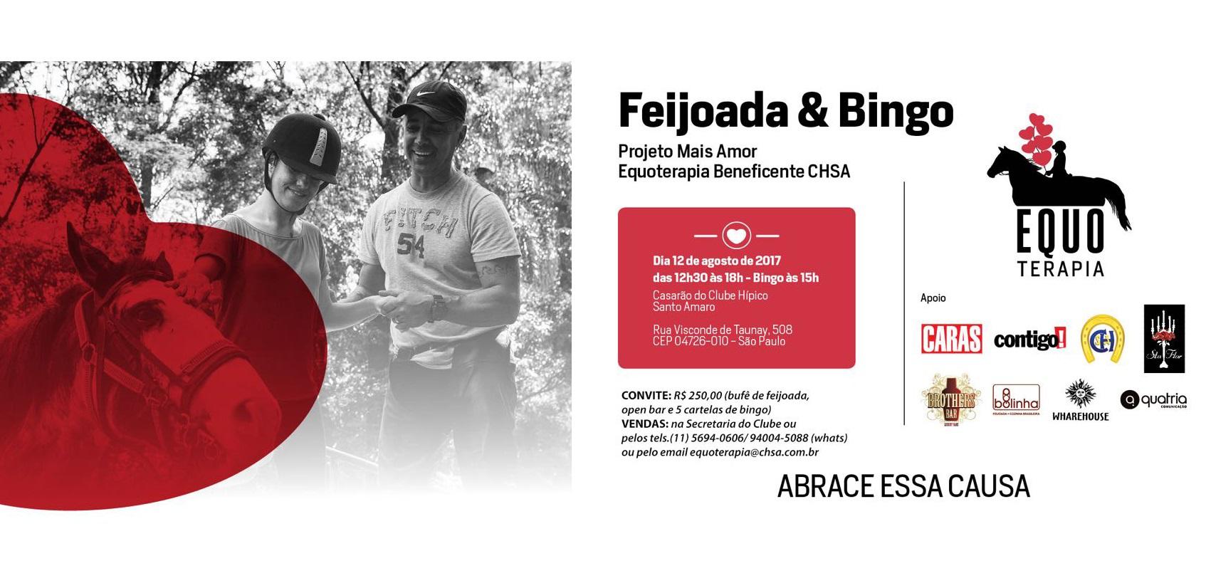 Vem aí Feijoada & Bingo - Projeto Mais Amor Equoterapia Beneficente CHSA em 12/8 41