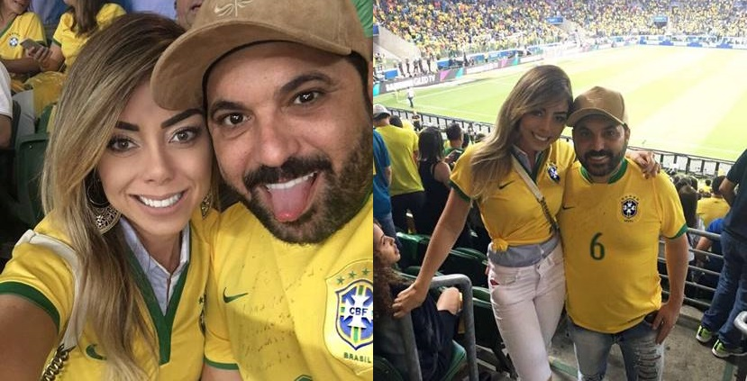 Deia Cypri e sertanejo Edson marcam presença no jogo Brasil x Chile 41