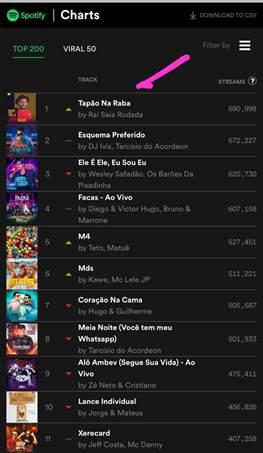 Raí Saia Rodada se destaca na primeira posição com a música mais escutada do país! 42