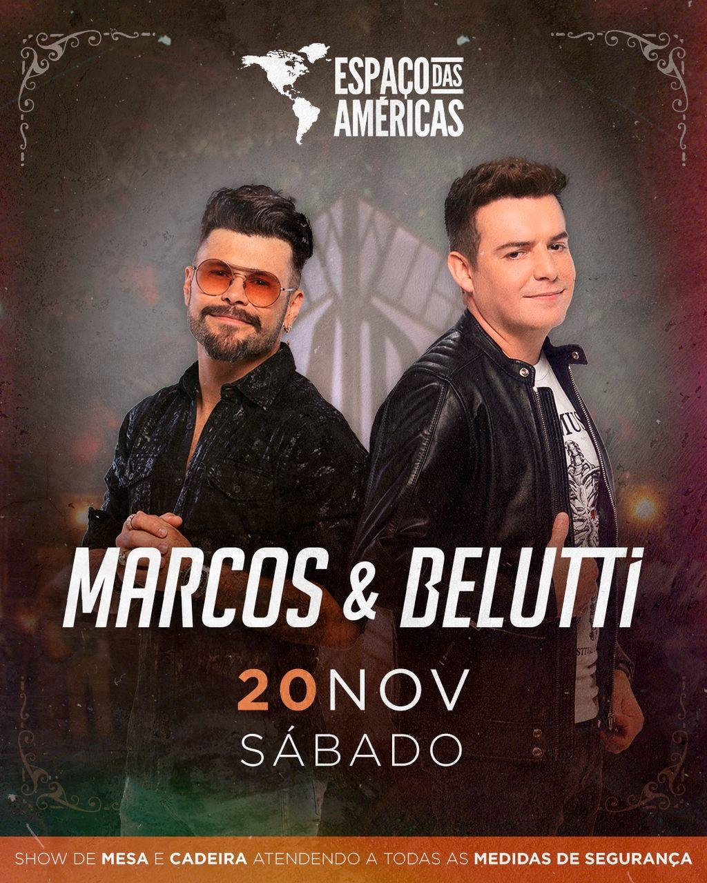Marcos e Belutti apresentam grandes hits no Espaço das Américas 41